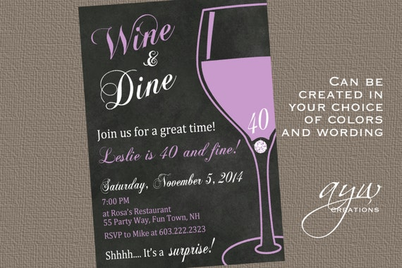 Wine And Dine 40th Birthday Party Invitation For The Woman Who Etsy