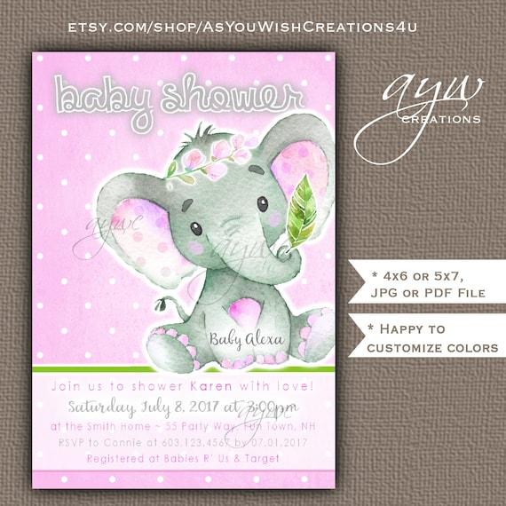 Elephant Baby Shower Invitation Girl Printable Digital File Etsy