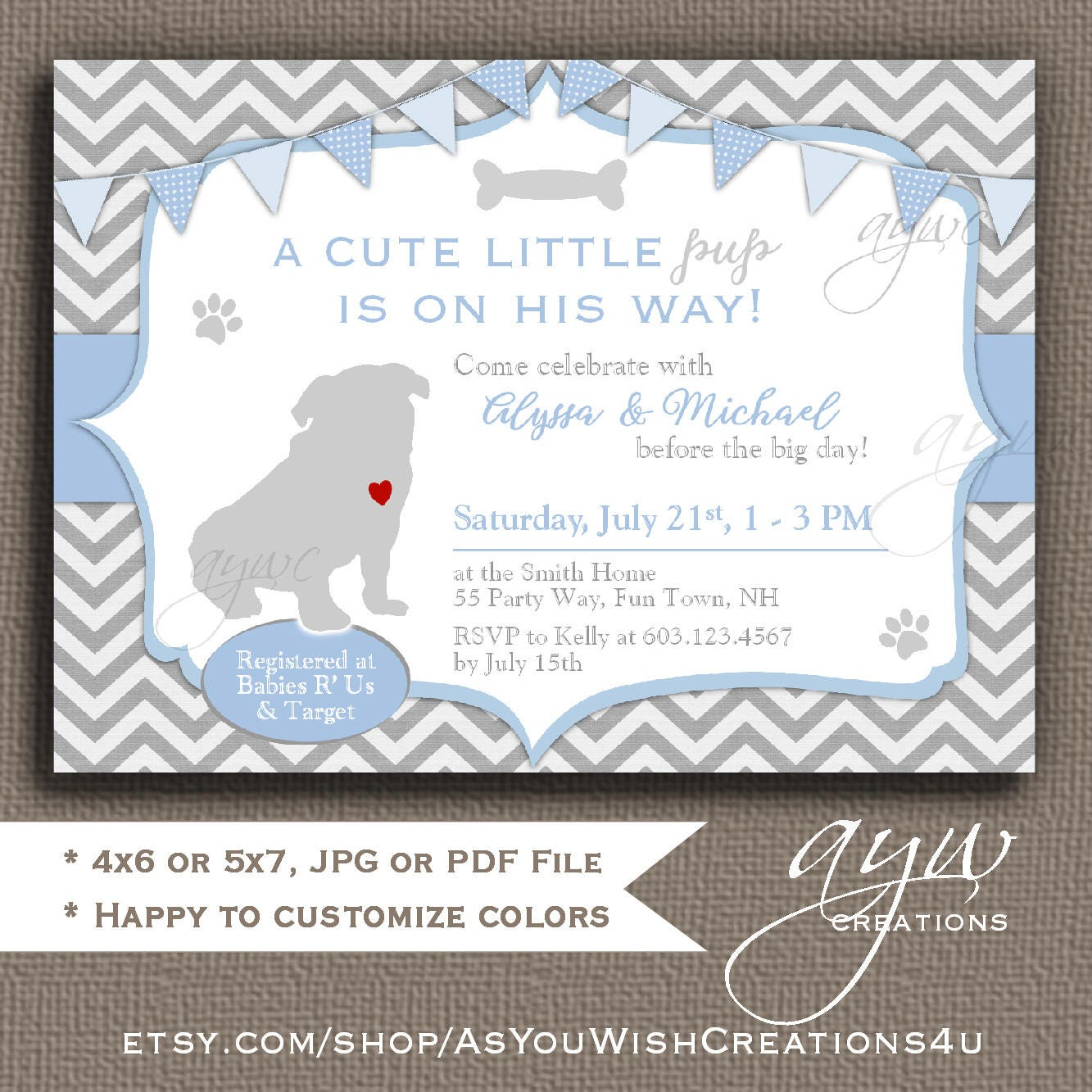 Pug Baby Shower Invitation Boy Pug Puppy Baby Shower | Etsy