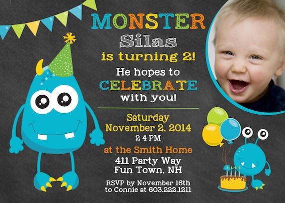 Monster Birthday Party Invitation Monster 1st Birthday Party