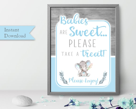 Babies Are Sweet Please Take A Treat Sign Elephant Shower