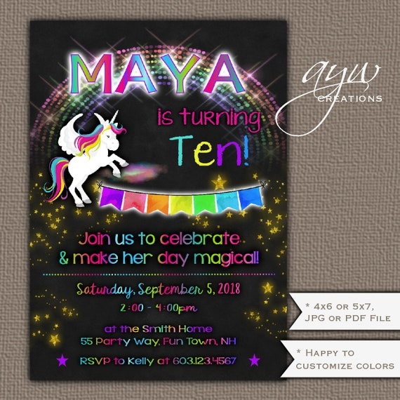 Unicorn Birthday Party Invitation Girl 10th Rainbow Invite Chalkboard