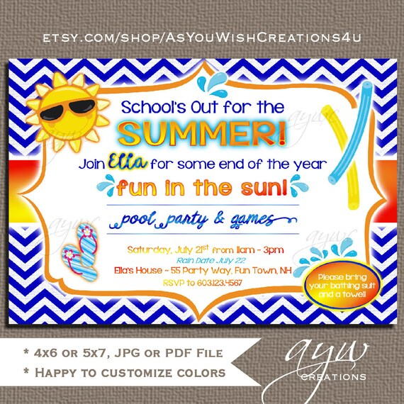 Pool Party Invitation Birthday Invites Printable