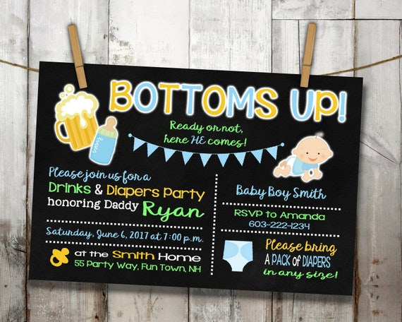 Beer And Diaper Party Invitation Bottoms Up Beer And Diaper Man Shower Chalkboard Background Invitation For Boy Printable Invite