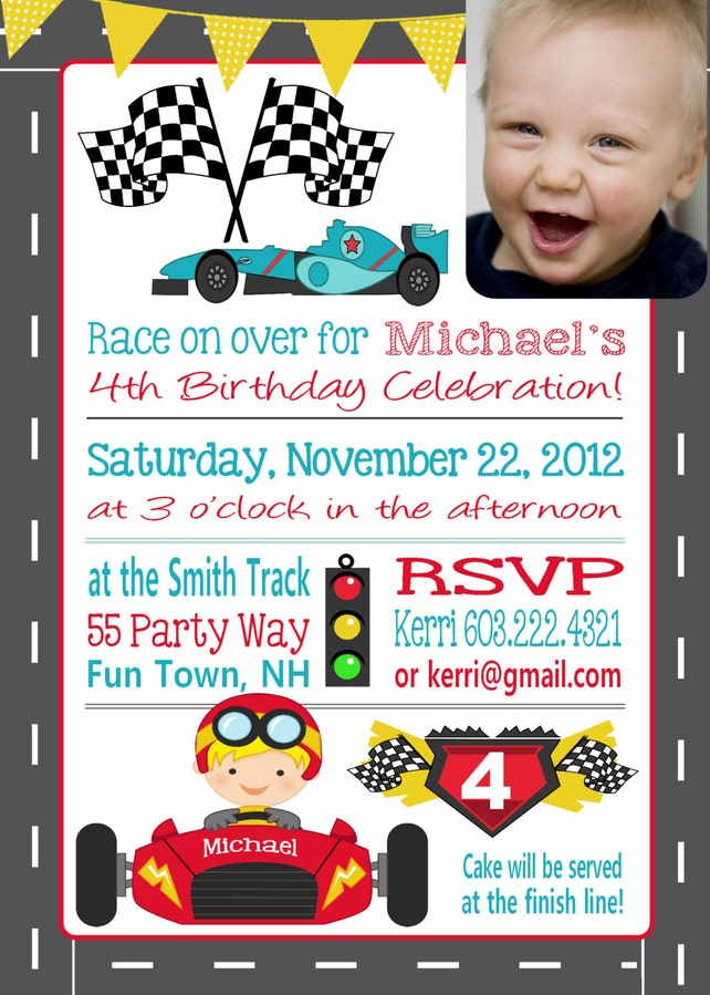 Cars 4th Birthday Invitation Fourth Printable Boy Party Invitations Photo ANY AGE