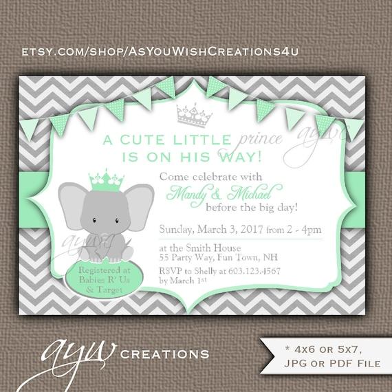 Elephant Baby Shower Invitation Gender Neutral Royal