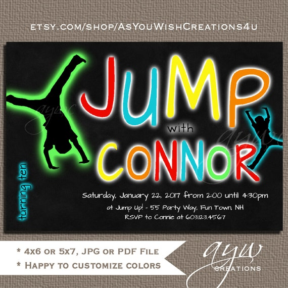 jump birthday party invitations trampoline invitation party etsy