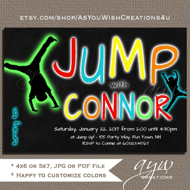 Jump Birthday Party Invitations Trampoline Invitation