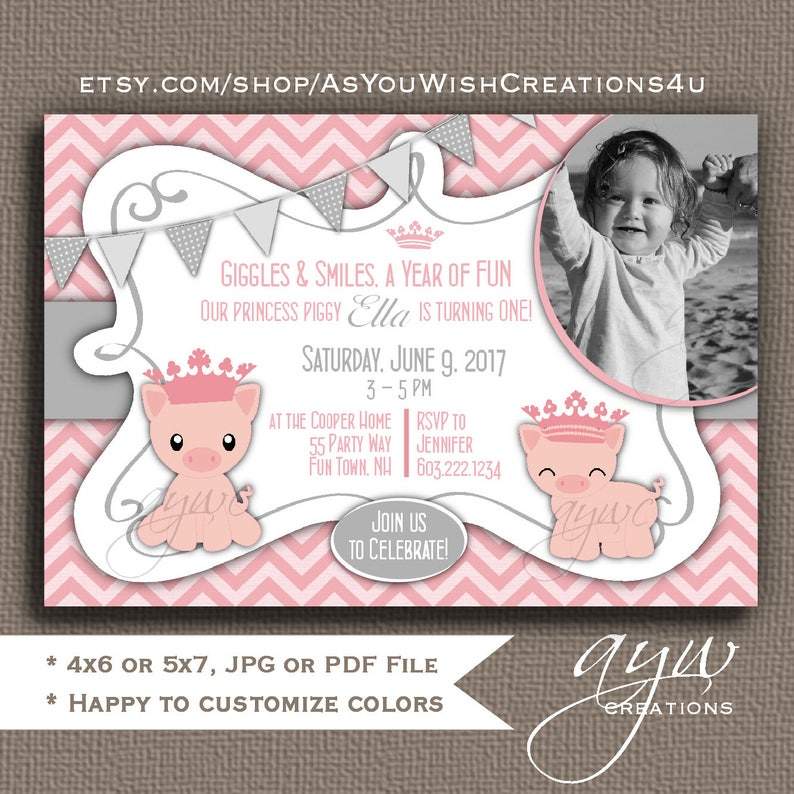 Pig Birthday Party Invitations Girl First