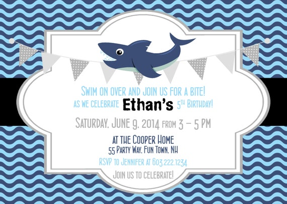 Shark birthday invitation shark party invitation shark etsy image 0 filmwisefo