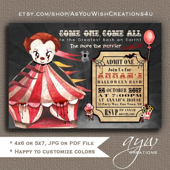 Creepy Clown Halloween Party Invitation Themed Birthday Circus Invite Scary Teen
