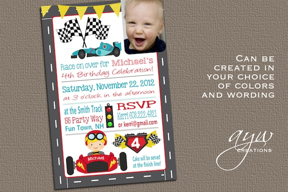 Cars 4th Birthday Invitation Fourth