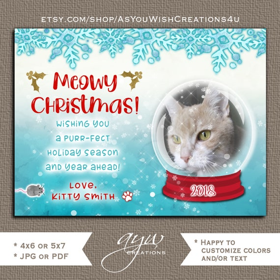 Cat Christmas Card Kitty Cat Holiday Greeting Card Snow