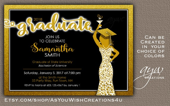 Black And Gold Graduation Party Invitation Elegant