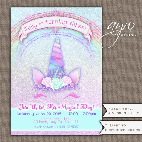 Unicorn Birthday Party Invitation Girl 3rd Birthday Invitation