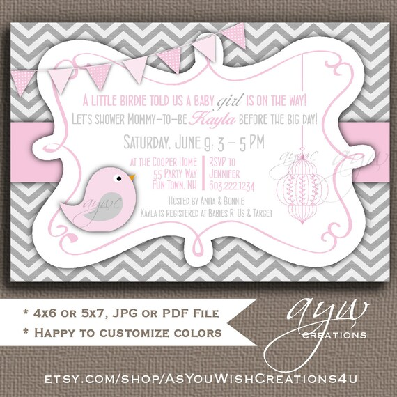 Baby shower invitation girl invitation bird baby shower etsy image 0 filmwisefo