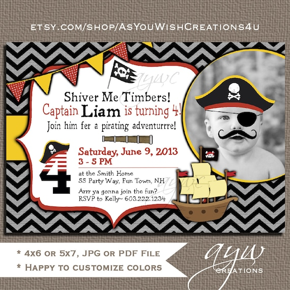Pirate Birthday Party Invitation Boy 4th Fourth Invitations Printable Invites