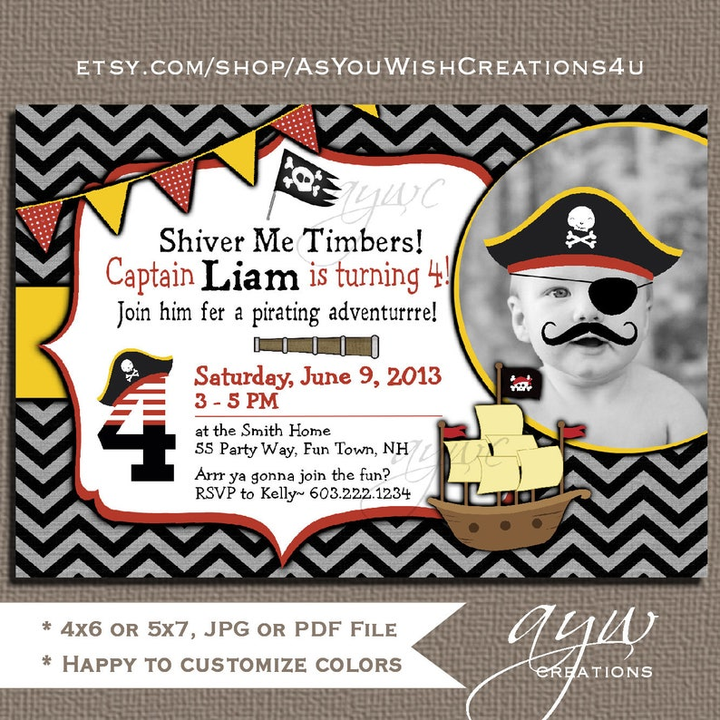 Pirate Birthday Party Invitation Boy 4th