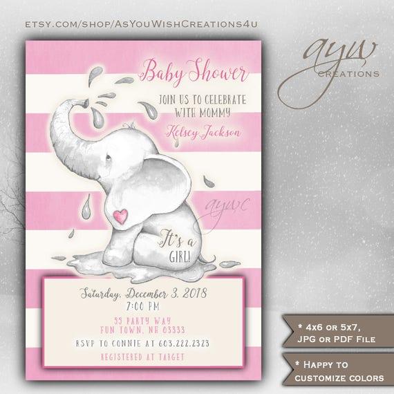 Elephant Baby Shower Invitation Girl Printable Digital File