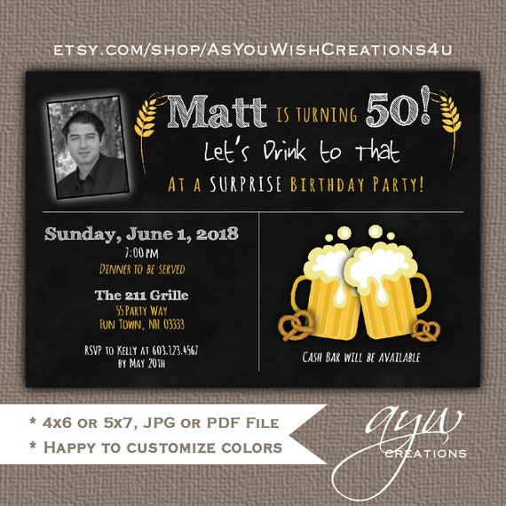 50th Birthday Party Invitation For Mens With Cheers