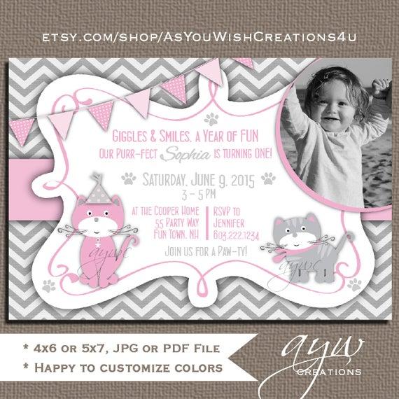 Cat 1st birthday party invitation girl kitty birthday etsy image 0 filmwisefo