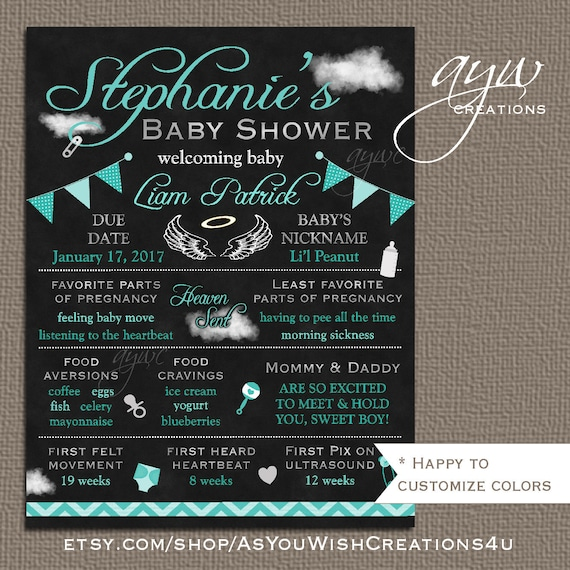 Angel Baby Shower Chalkboard Poster Mommy To Be Chalkboard Poster