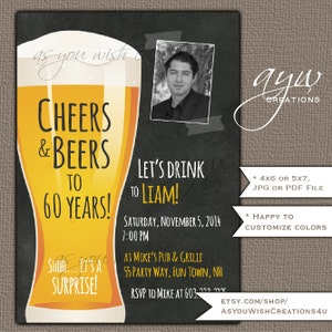 40th Birthday Invitation Man Cheers And Beers Party Printable Invites With Photo Chalkboard