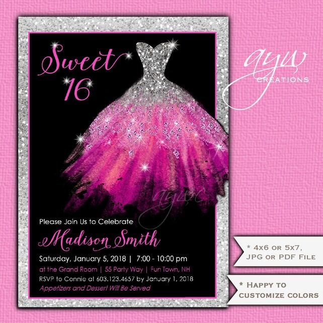 Sweet Sixteen Invitations Dress 16 Birthday Party Invitation Glam Printable