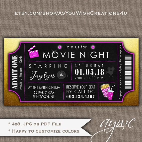 picture relating to Printable Movie Ticket Invitation named Video Theater Birthday Social gathering Invitation Lady Video Evening