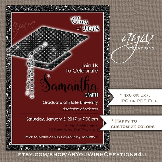 unique graduation party invitation bling cap glitter party