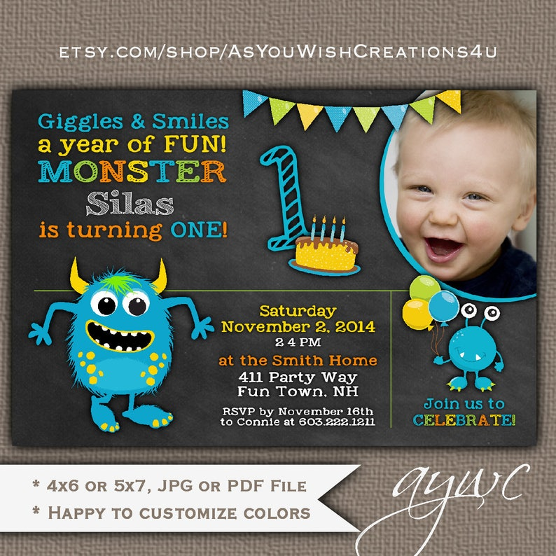 Monster Birthday Invitation First Party