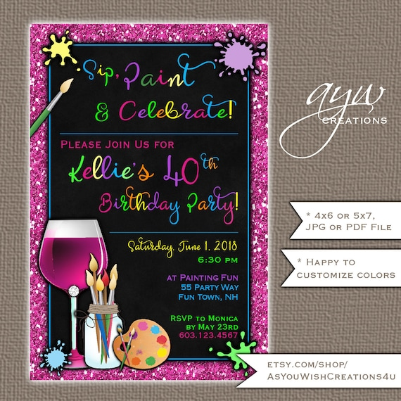Sip And Paint 40th Birthday Party Invitation For The Artistic