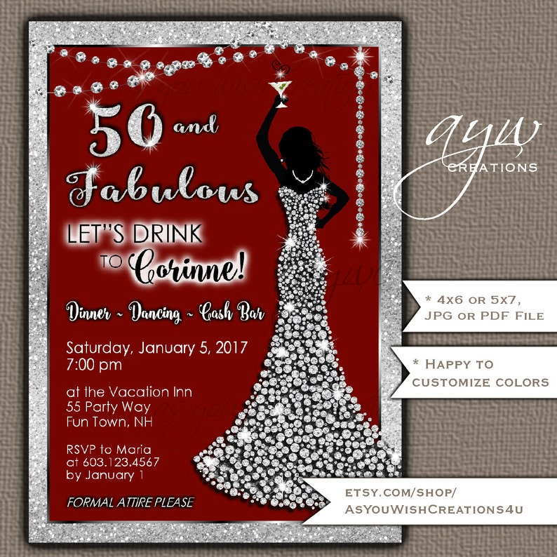 50th Birthday Party Invitation For The Woman Who Is Fifty And Fabulous Featuring An Elegant Dress Of Diamonds