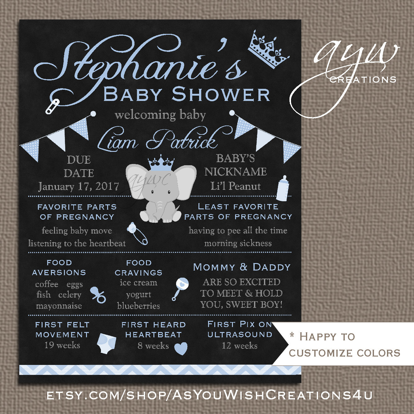 baby shower chalkboard poster made to match mommy