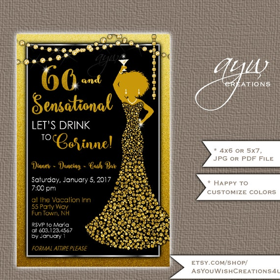 60th Birthday Party Invitation For The Woman Who Is Sixty And Sensational