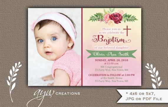 floral baptism invitations girl on watercolor background baptism