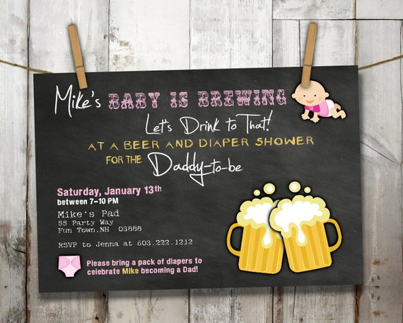 Diaper Party Invitation For A Man Shower Baby Is Brewing