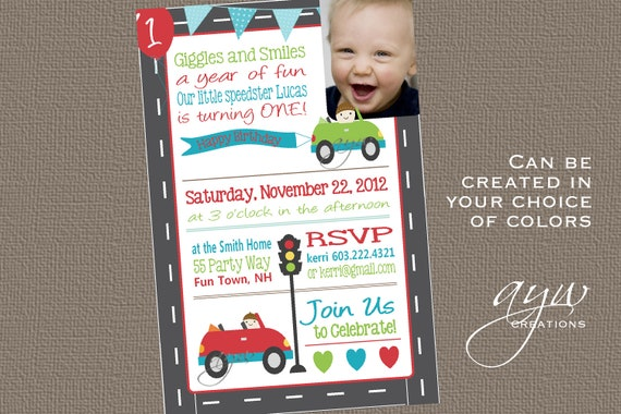 Cars 1st Birthday Invitation First