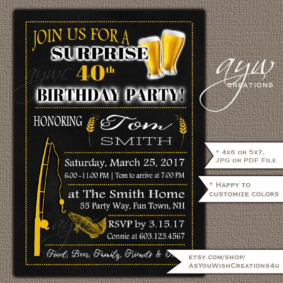 50th Birthday Party Invitation For Mens