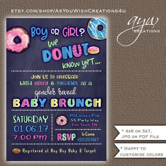 Donuts Gender Reveal Shower Invitation - Girl or Boy ...