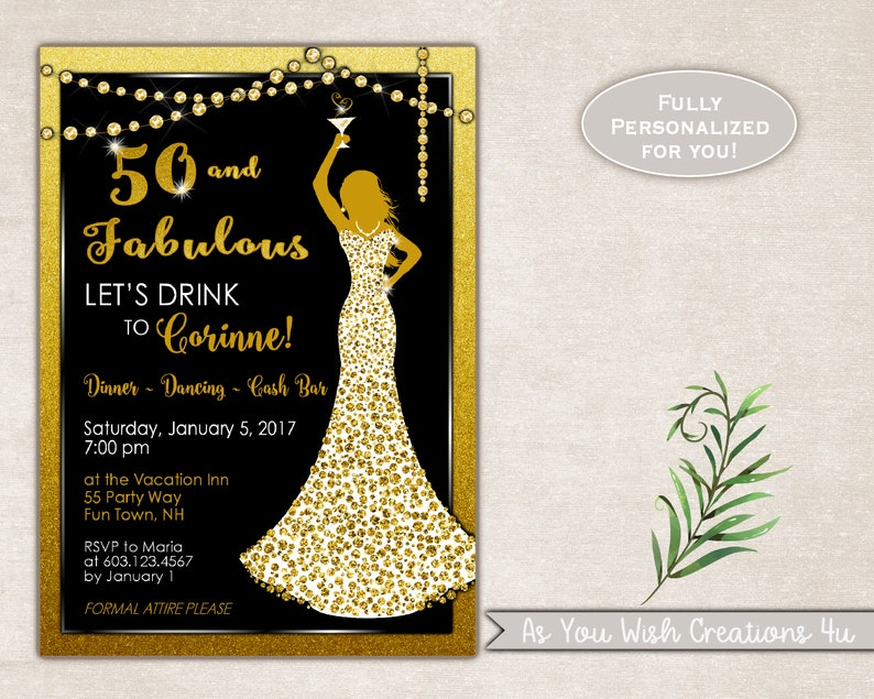 ee4b8620f951 50th Birthday Party Invitation for a Woman Cocktail Party | Etsy