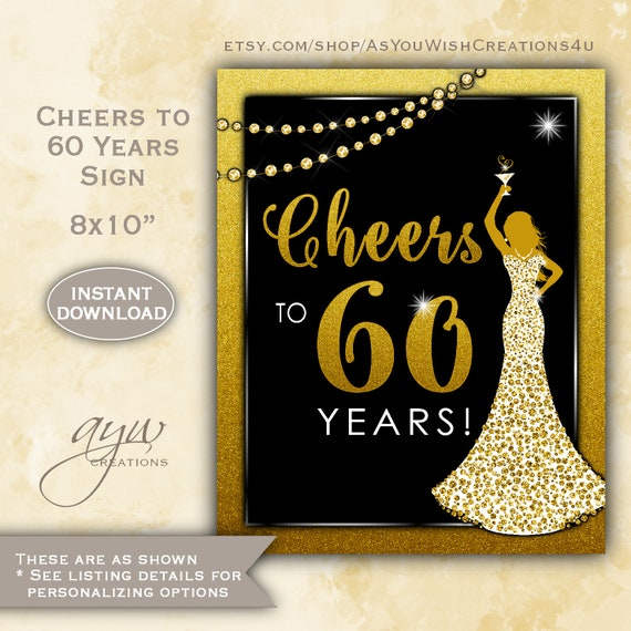 Cheers To 60 Years Sign For Womans Birthday Party 60th Decor Sixty Printable DRESS60