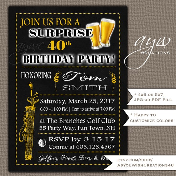 40th Birthday Party Invitation For Mens