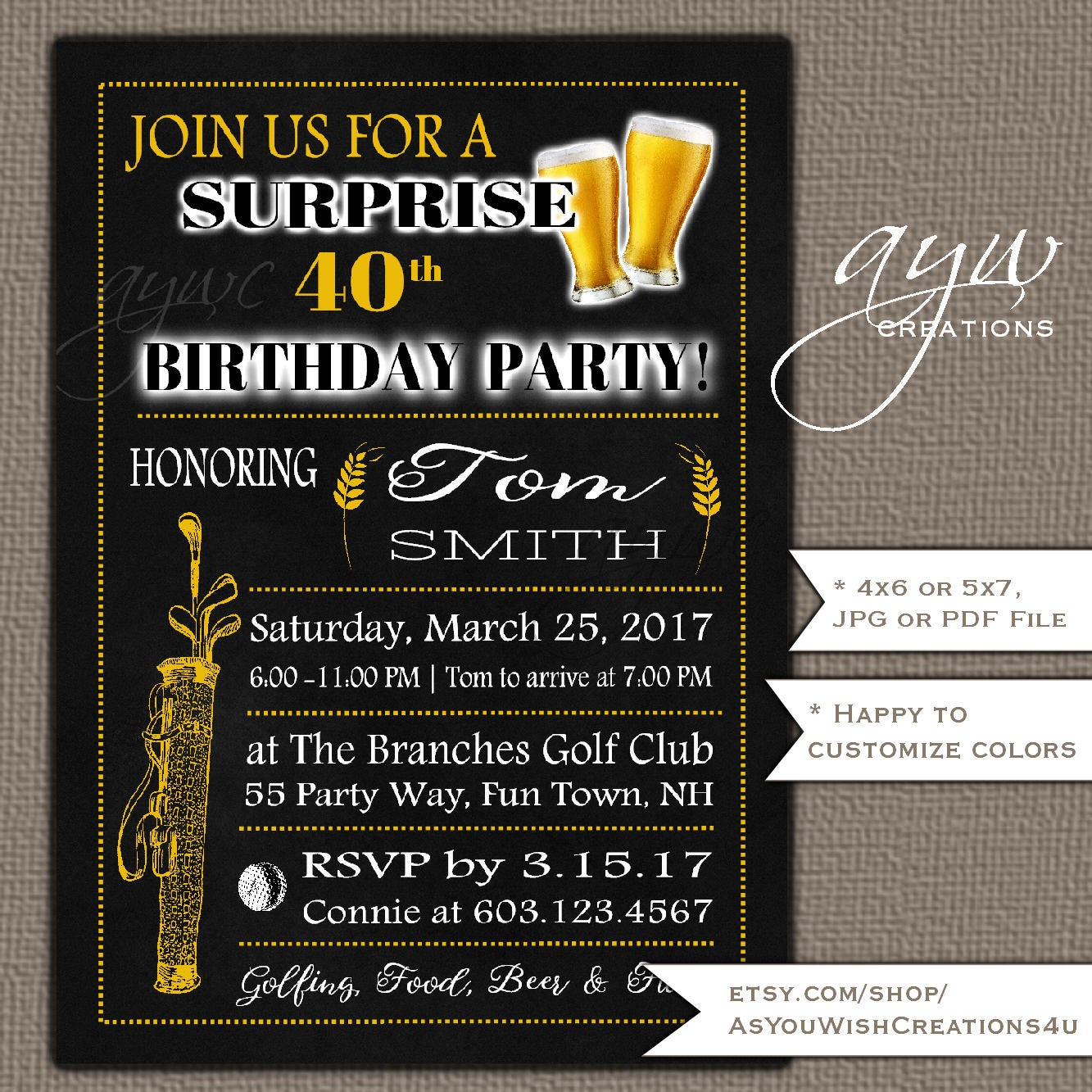 40th Birthday Party Invitation For Men's Birthday Party