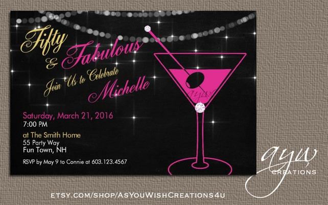 50th birthday party invitation woman martini glass birthday etsy image 0 filmwisefo