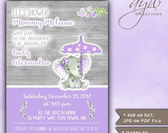 Baby Shower Invitations Elephant Girl Umbrella Baby Shower Elephant Baby Shower Invitations Printable Invites Rustic Wood Watercolor