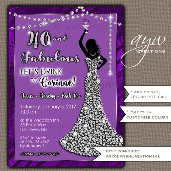 40th Birthday Party Invitation For The Woman Who Is Forty And