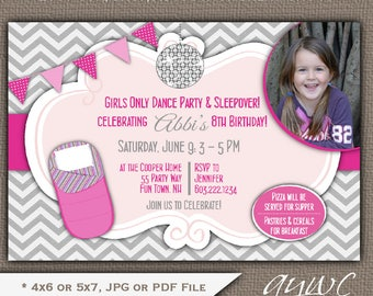 Sleepover Dance Birthday Party Invitation Girl Slumber Party Birthday Dance Invitations Disco Ball Dance Party Invites Girl Tween ANY AGE