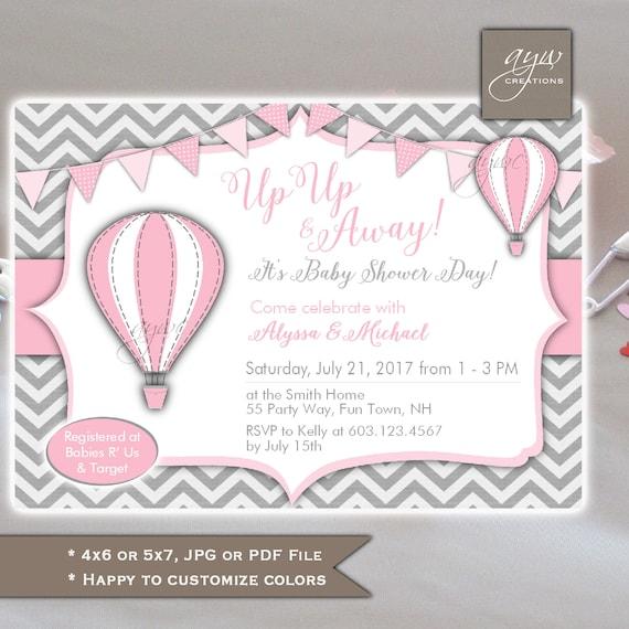 Hot Air Balloons Baby Shower Invitation Girl Printable Digital