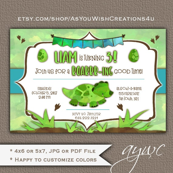 Dinosaur 3rd Birthday Party Invitation Boy Invitations Invites Printable Third
